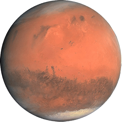 Mars, red with white ice caps.